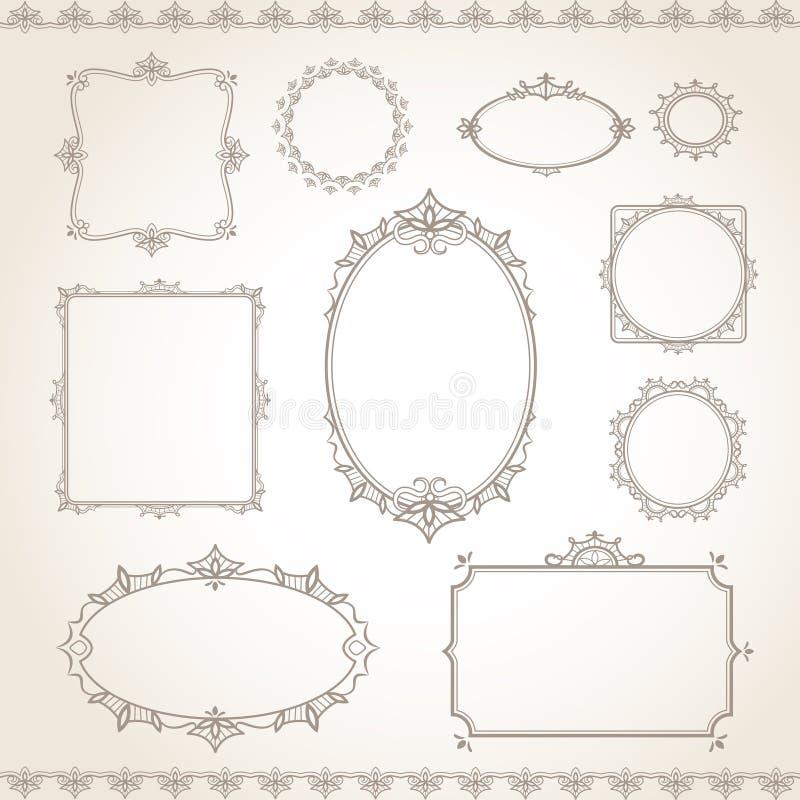 Винтажный комплект рамки иллюстрация вектора