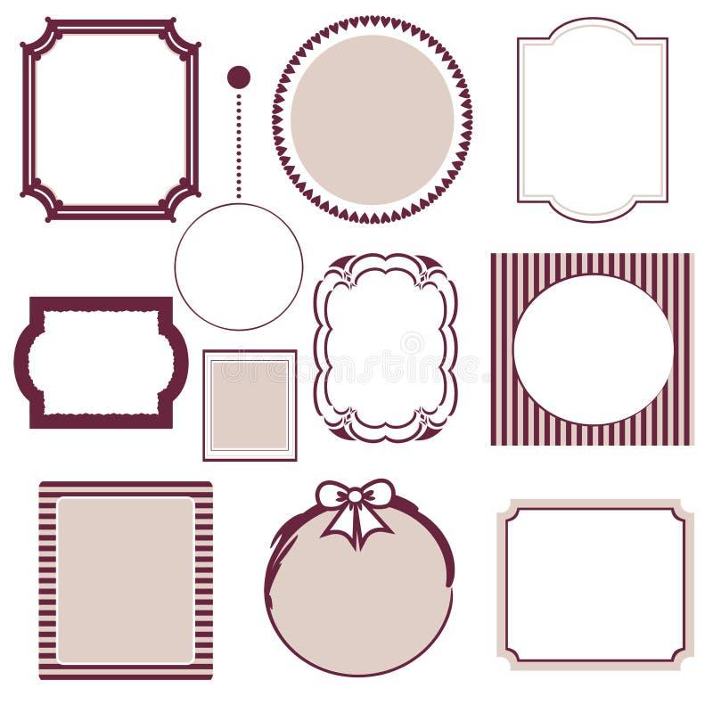 Винтажный комплект рамки иллюстрация штока