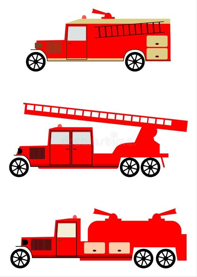 Винтажный комплект тележки пожарной машины иллюстрация вектора