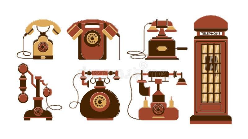 Винтажный комплект телефонов иллюстрация штока