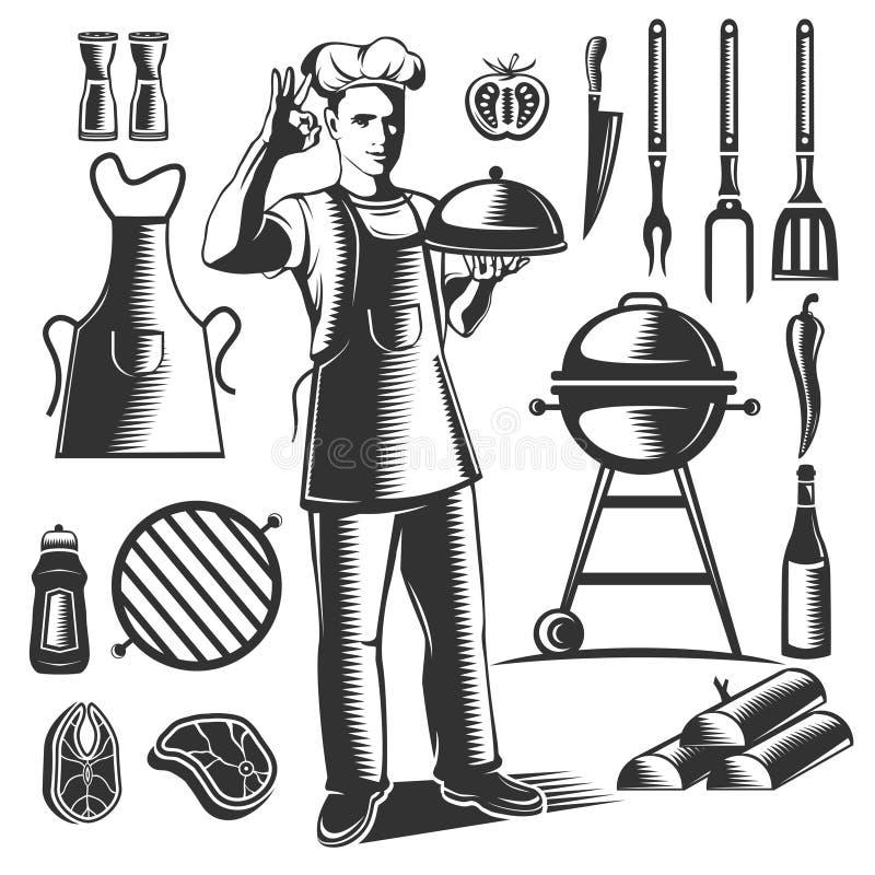 Винтажный комплект элемента BBQ иллюстрация вектора