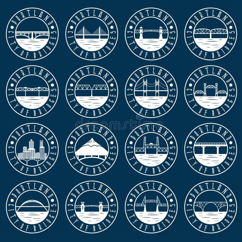 Винтажный комплект ярлыков Портленда, Орегона, США emblems ретро иллюстрация штока