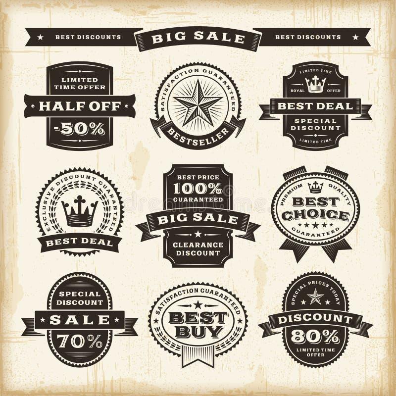 Винтажный комплект ярлыков продажи иллюстрация штока