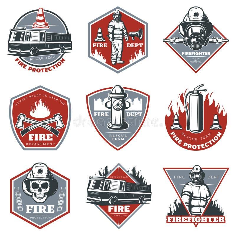 Винтажный комплект ярлыков Firefighting бесплатная иллюстрация
