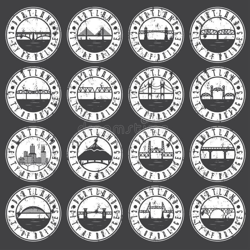 Винтажный комплект ярлыков grunge Портленда, Орегона, США ретро иллюстрация вектора