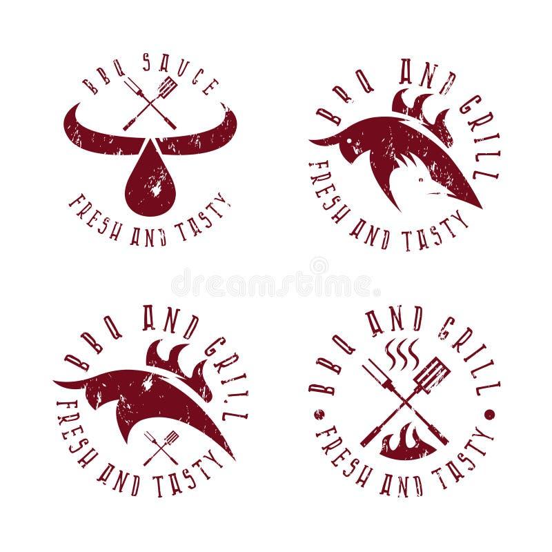 Винтажный комплект ярлыков grunge BBQ иллюстрация вектора