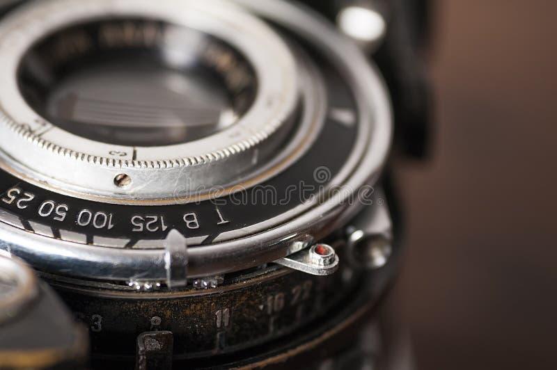 Винтажный конец-вверх объектива фотоаппарата стоковое фото rf