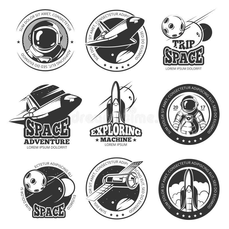 Винтажный космос, астронавтика, ярлыки вектора полета космического корабля многократного использования, логотипы, значки, эмблемы иллюстрация штока