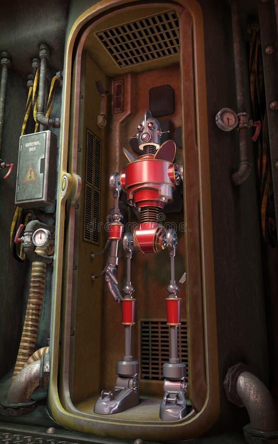 Винтажный красный робот иллюстрация штока