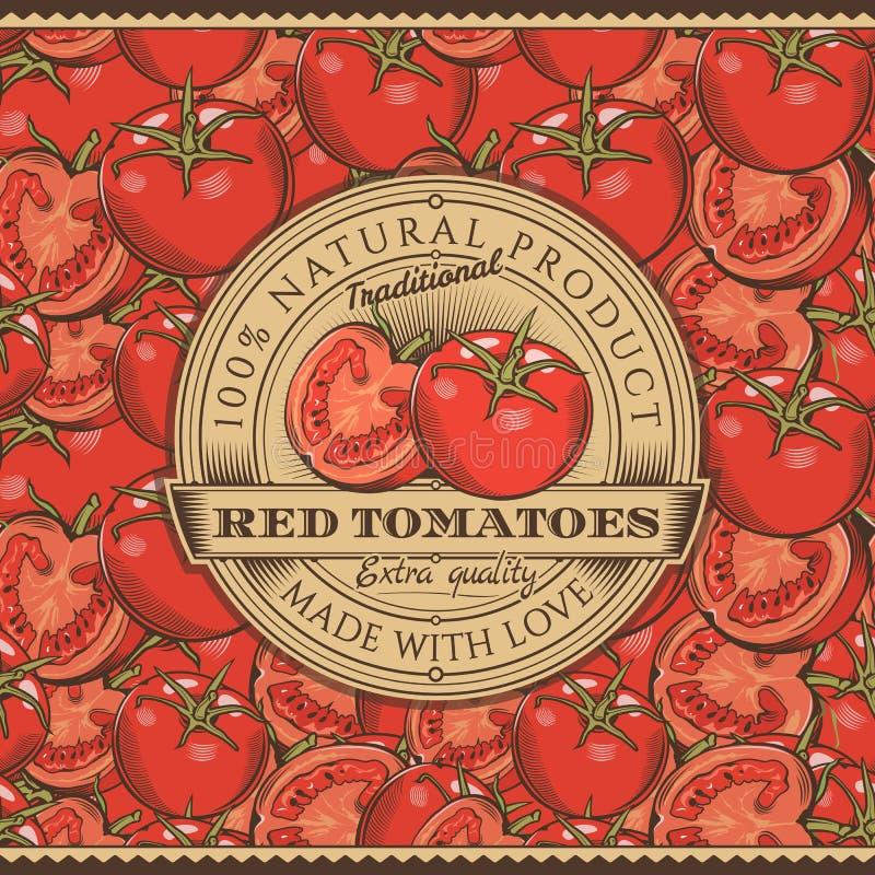 Винтажный красный ярлык томатов на безшовной картине иллюстрация вектора