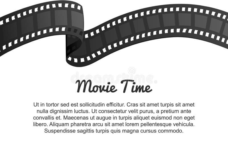 Винтажный крен прокладки фильма Развлечения и воссоздание кино кино ретро Кинематография и видео- кассета для Голливуда иллюстрация вектора