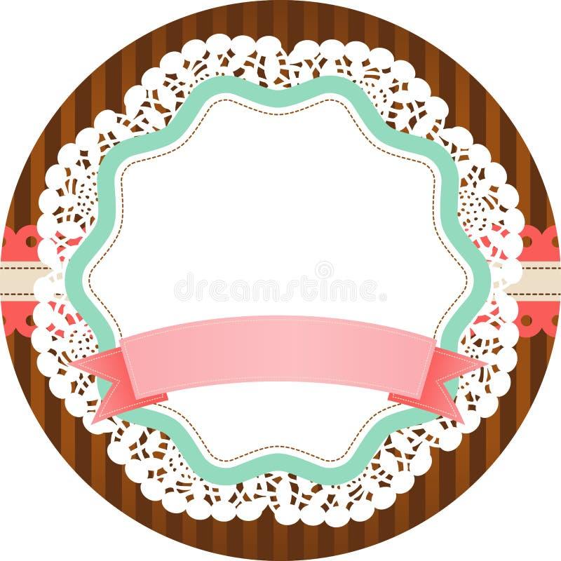 Винтажный круглый ярлык с пустым знаменем иллюстрация штока