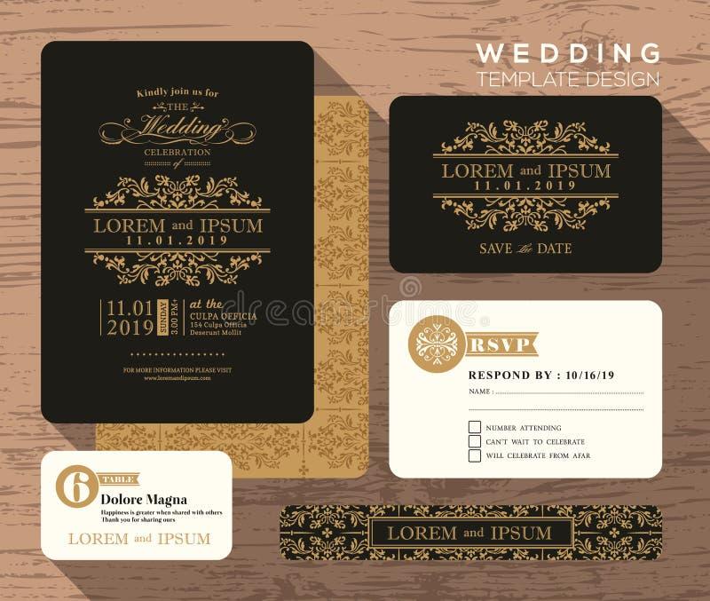 Винтажный классический шаблон установленного дизайна приглашения свадьбы иллюстрация штока