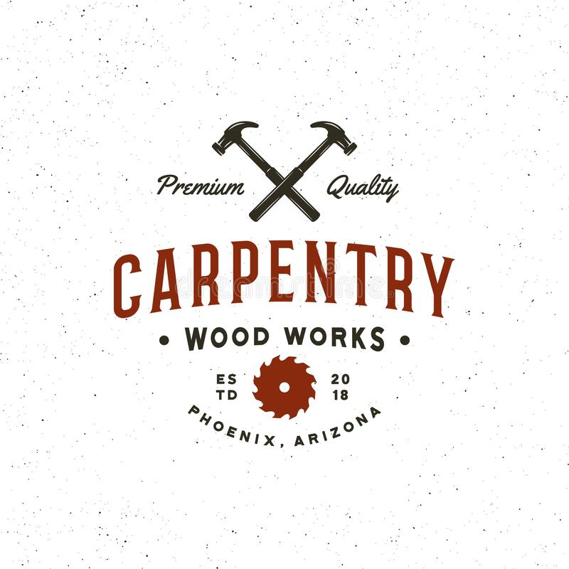 Винтажный логотип плотничества ретро введенная в моду древесина работает эмблема также вектор иллюстрации притяжки corel бесплатная иллюстрация