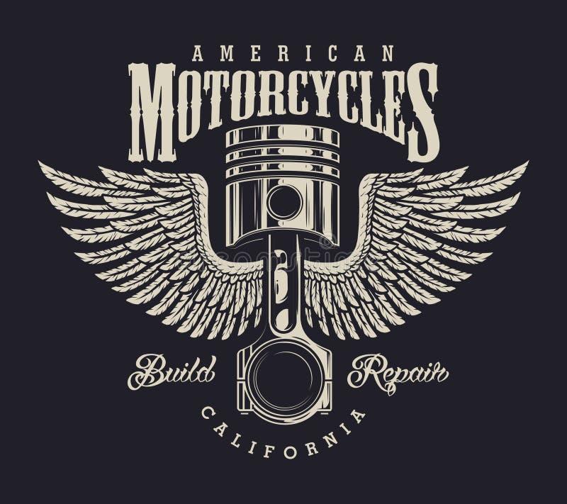 Винтажный логотип ремонтной мастерской мотоцикла бесплатная иллюстрация