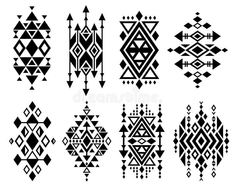 Винтажный мексиканский ацтекский племенной традиционный дизайн логотипа вектора, установленные печати navajo иллюстрация вектора