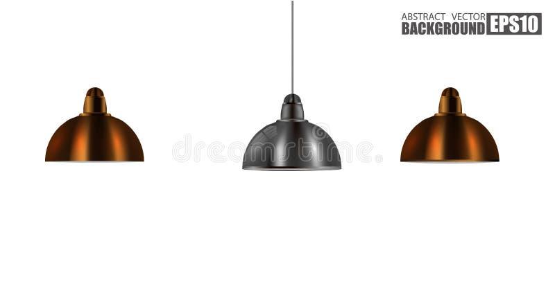 Винтажный металлический стильный комплект лампы конуса потолка вида Первоначально ретро дизайн латунь, и хромовая краска бесплатная иллюстрация