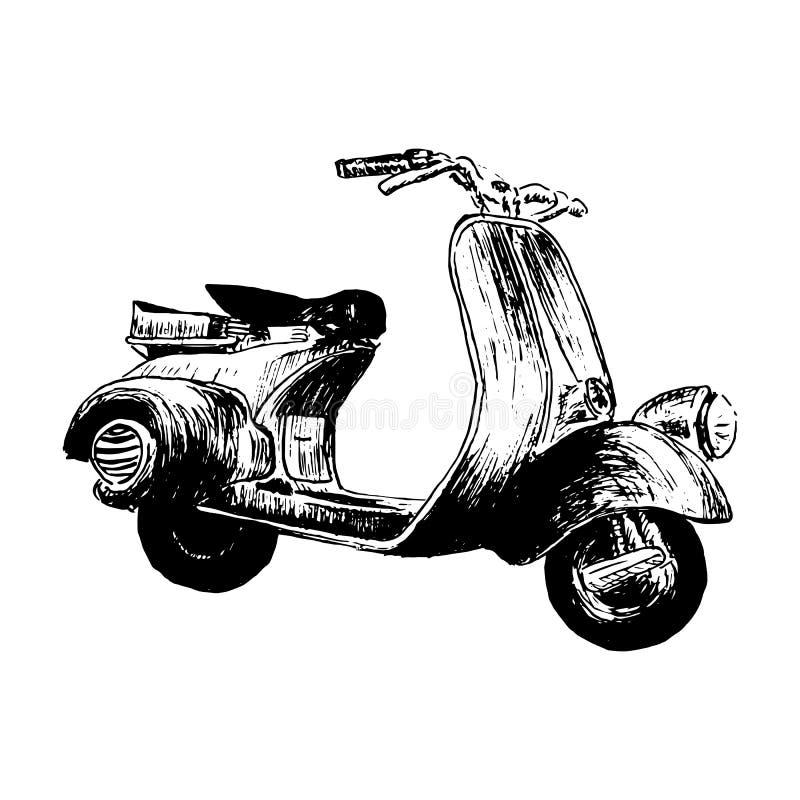 Винтажный мотороллер vector иллюстрация, графики руки - старый самокат бирюзы Италия иллюстрация вектора