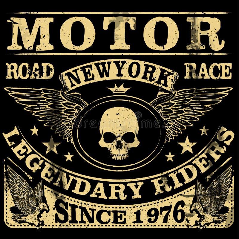 Винтажный мотоцикл Нарисованная рукой иллюстрация года сбора винограда grunge иллюстрация вектора