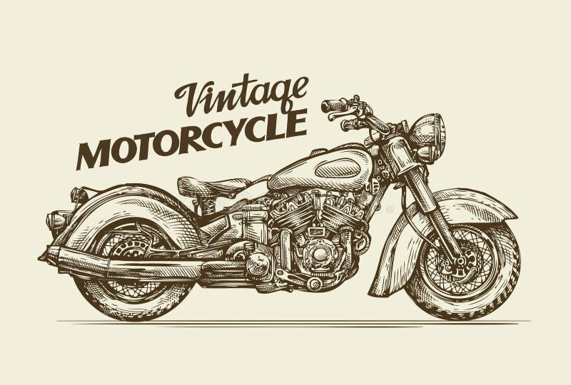 Винтажный мотоцикл Нарисованное рукой мотоцилк эскиза ретро также вектор иллюстрации притяжки corel иллюстрация вектора