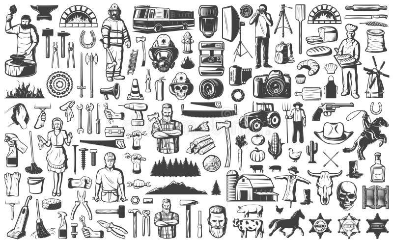 Винтажный набор элементов профессий людей бесплатная иллюстрация