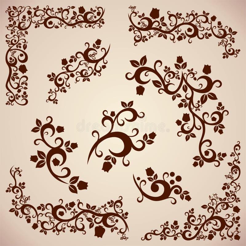 Винтажный орнамент с флористическими элементами иллюстрация вектора