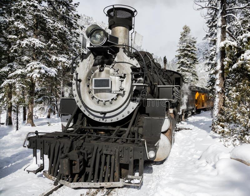 Винтажный паровой поезд в снежно-горном лесу стоковое изображение
