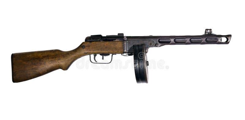 Винтажный пистолет-пулемет на белой предпосылке стоковая фотография rf
