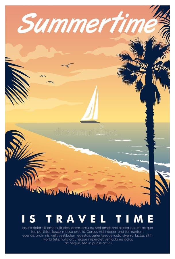 Винтажный плакат летнего времени бесплатная иллюстрация