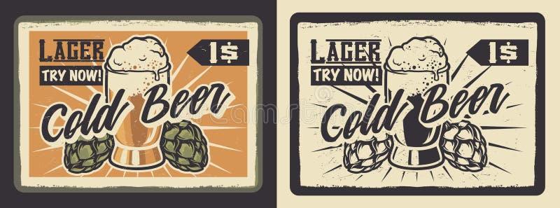 Винтажный плакат со стеклом пива бесплатная иллюстрация