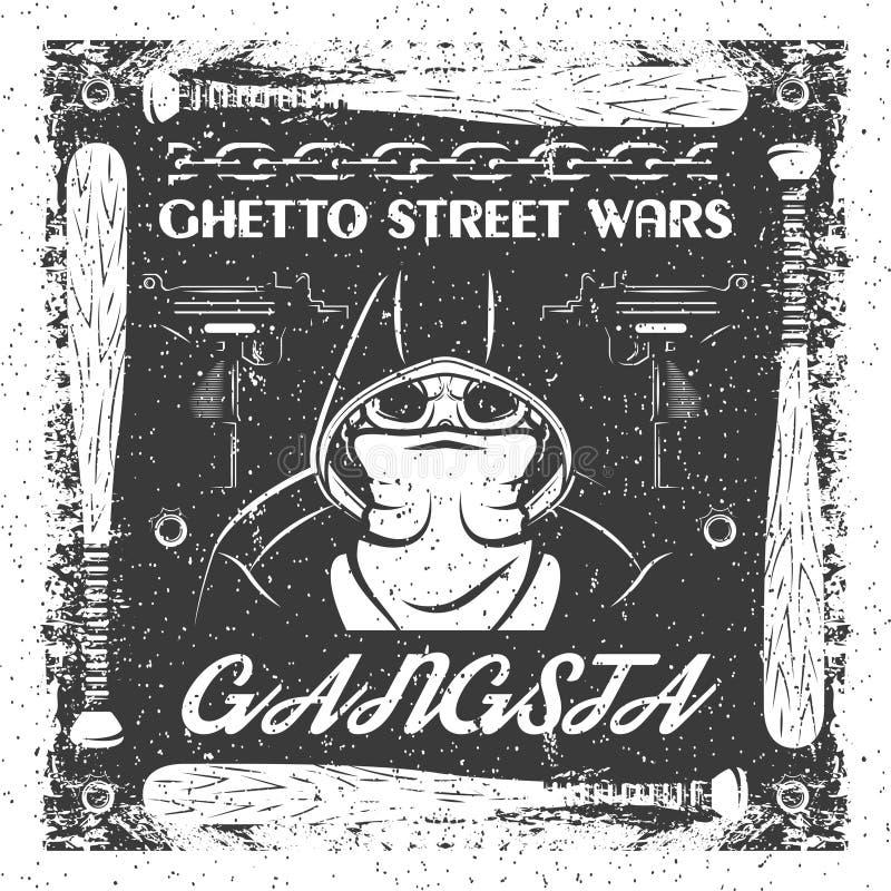 Винтажный плакат gangsta Череп в bandana и hoodie типографский для печати, футболки, дизайна тройника иллюстрация вектора