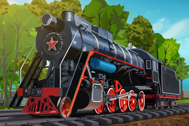 Винтажный поезд на лете иллюстрация вектора