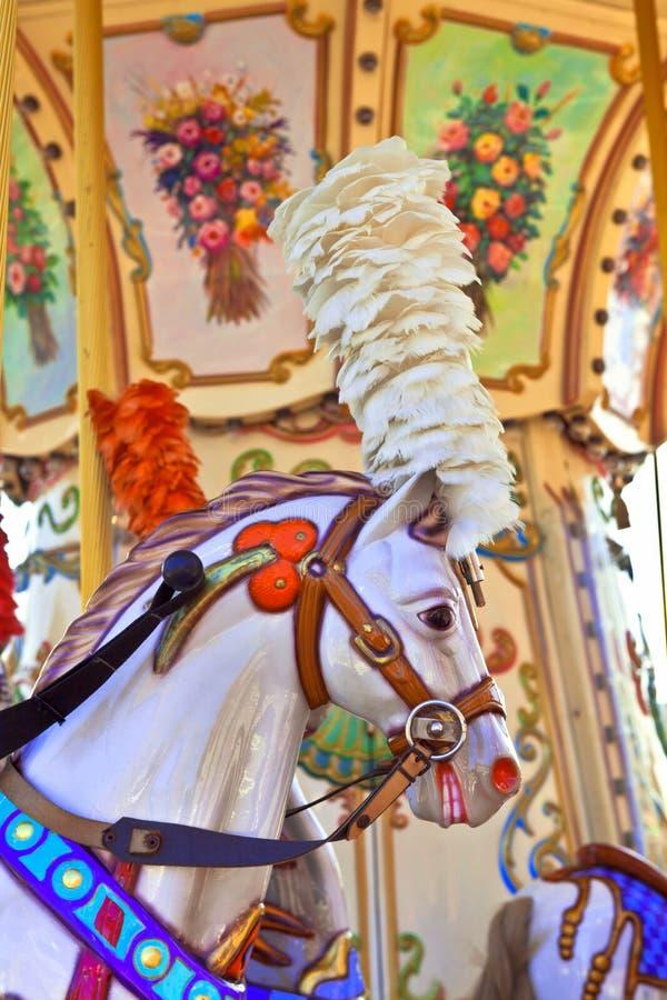 Винтажный пони carousel стоковое фото rf