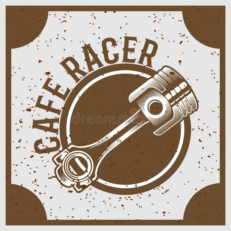Винтажный поршень стиля grunge с гонщиком кафа текста иллюстрация вектора
