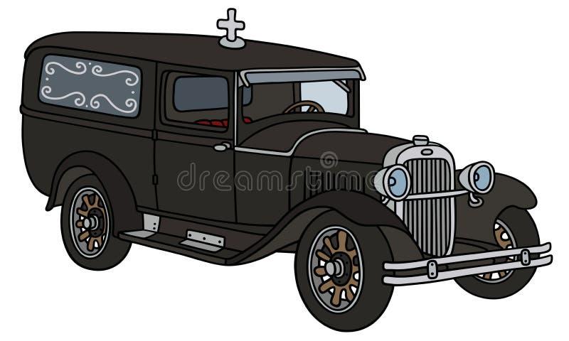 Винтажный похоронный автомобиль иллюстрация штока