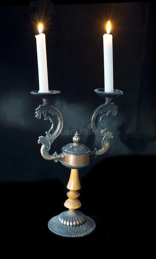 Винтажный подсвечник с свечами стоковые фотографии rf