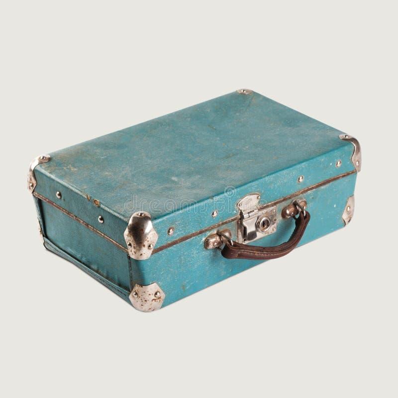 Винтажный пустой кожаный чемодан Свет-голубая бирюза стоковые изображения