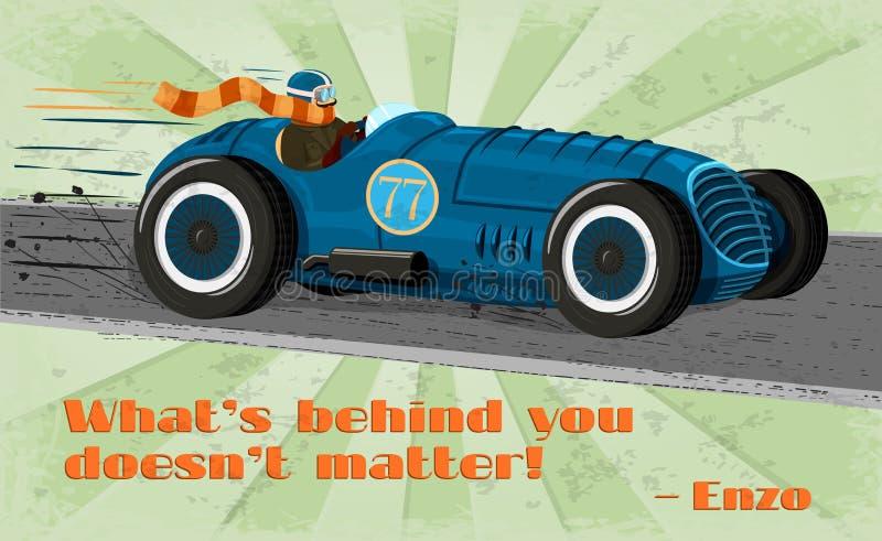 Винтажный плакат гоночного автомобиля иллюстрация штока