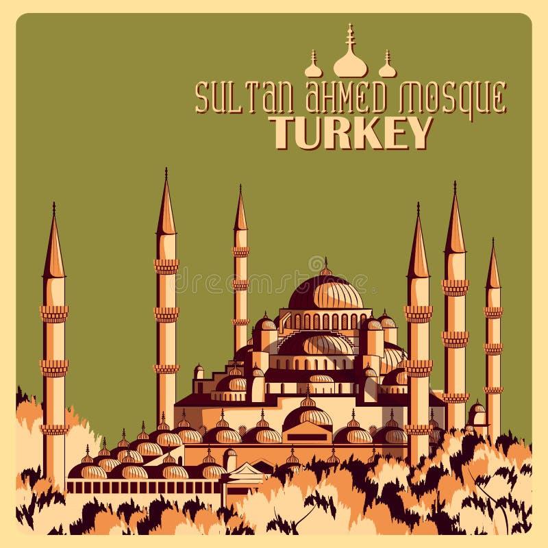Винтажный плакат мечети Ahmed султана в памятнике Стамбула известном в Турции иллюстрация штока