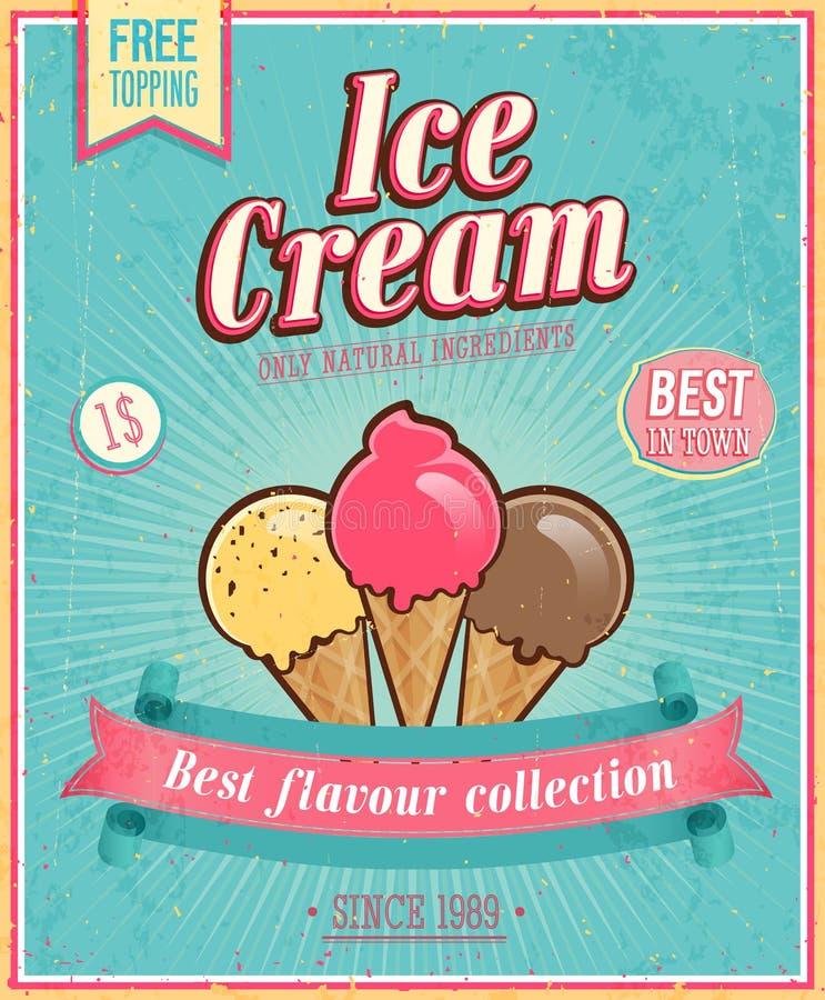 Винтажный плакат мороженого. бесплатная иллюстрация