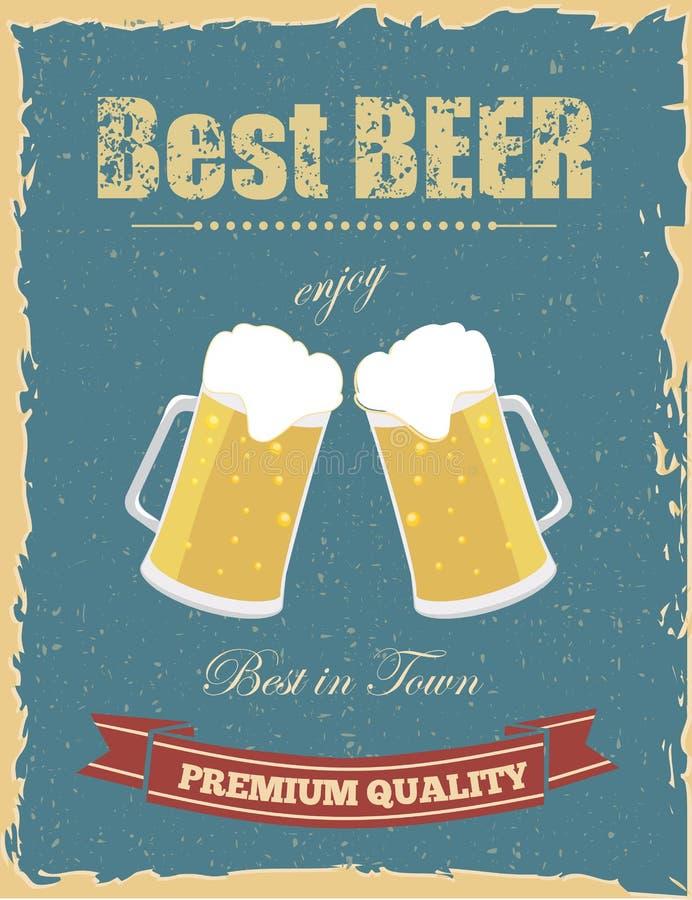 Винтажный плакат пива иллюстрация вектора