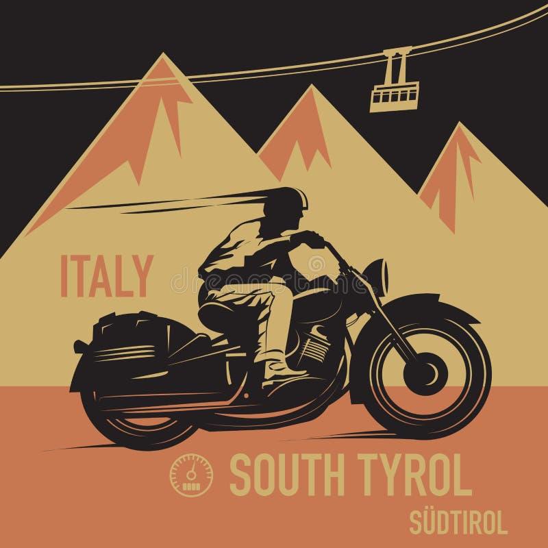 Винтажный плакат приключения мотоцикла иллюстрация штока