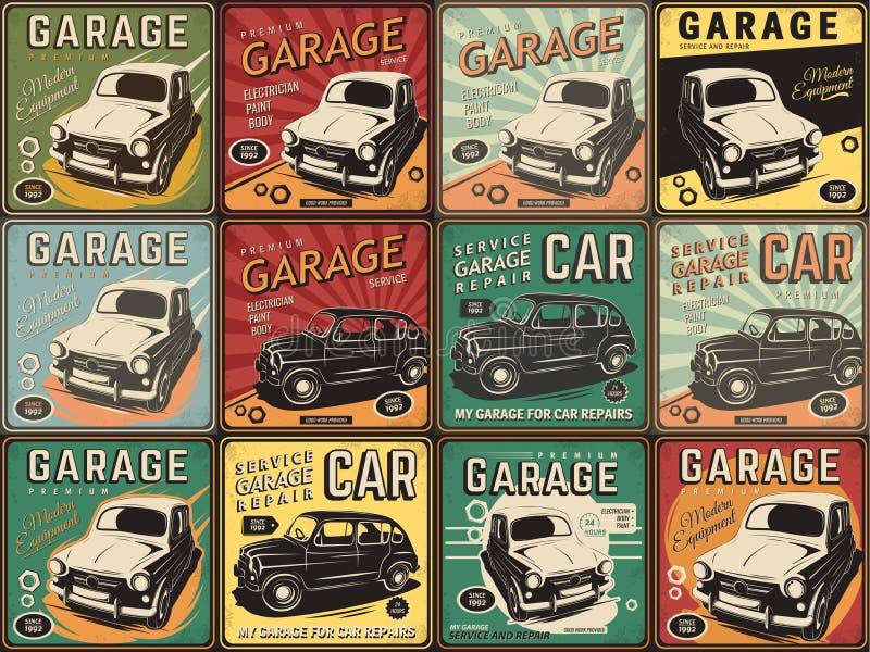 Винтажный плакат, ремонт автомобилей стоковые изображения rf
