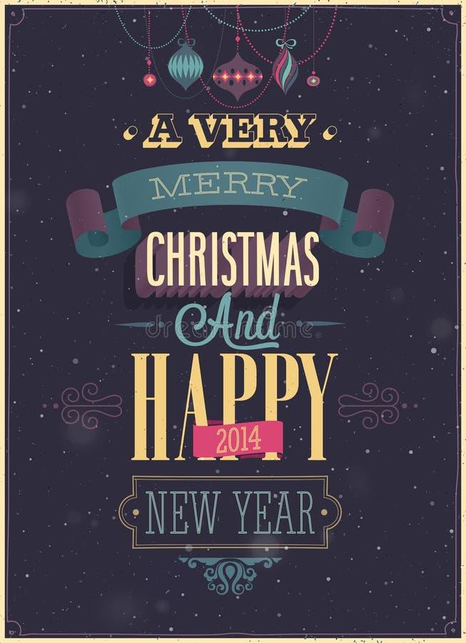 Винтажный плакат рождества. иллюстрация штока