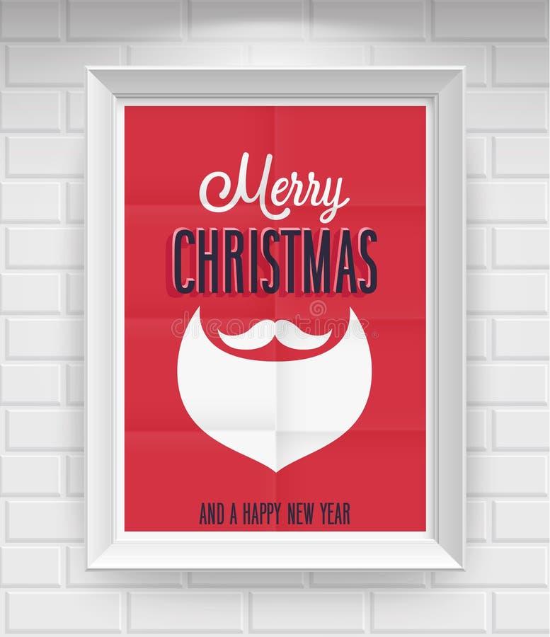 Винтажный плакат рождества. иллюстрация вектора