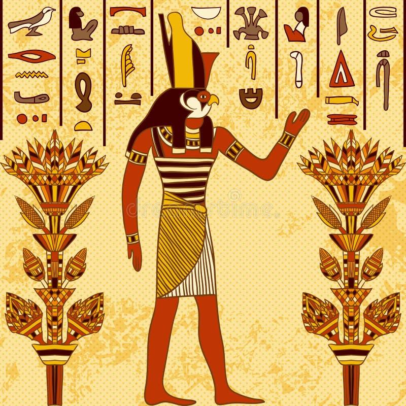 Винтажный плакат с египетским богом на предпосылке grunge с старыми египетскими иероглифами и флористическими элементами иллюстрация вектора