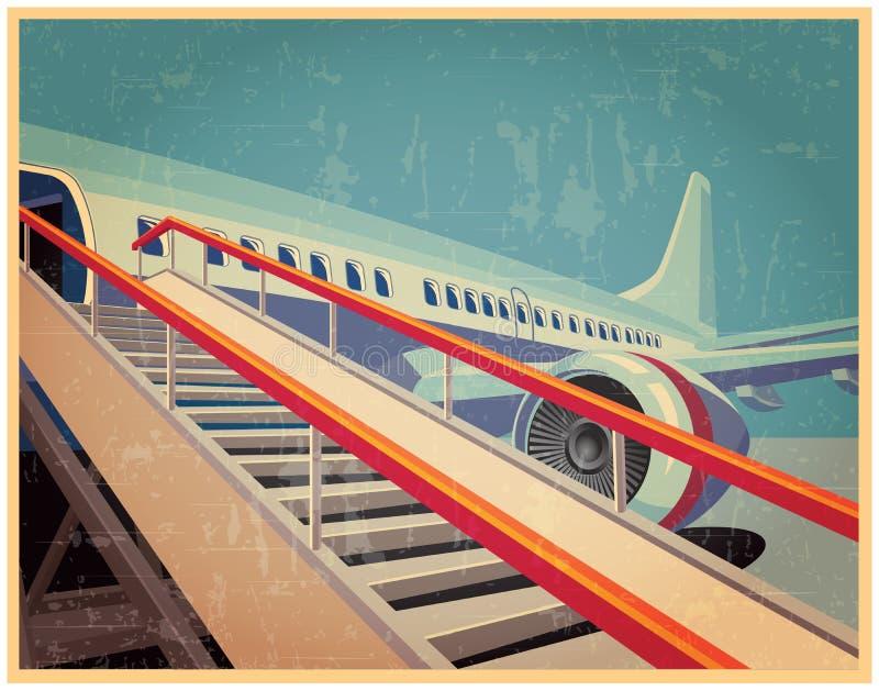 Винтажный плакат с самолетом иллюстрация штока