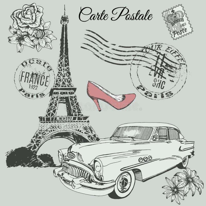 Винтажный плакат темы Парижа иллюстрация вектора