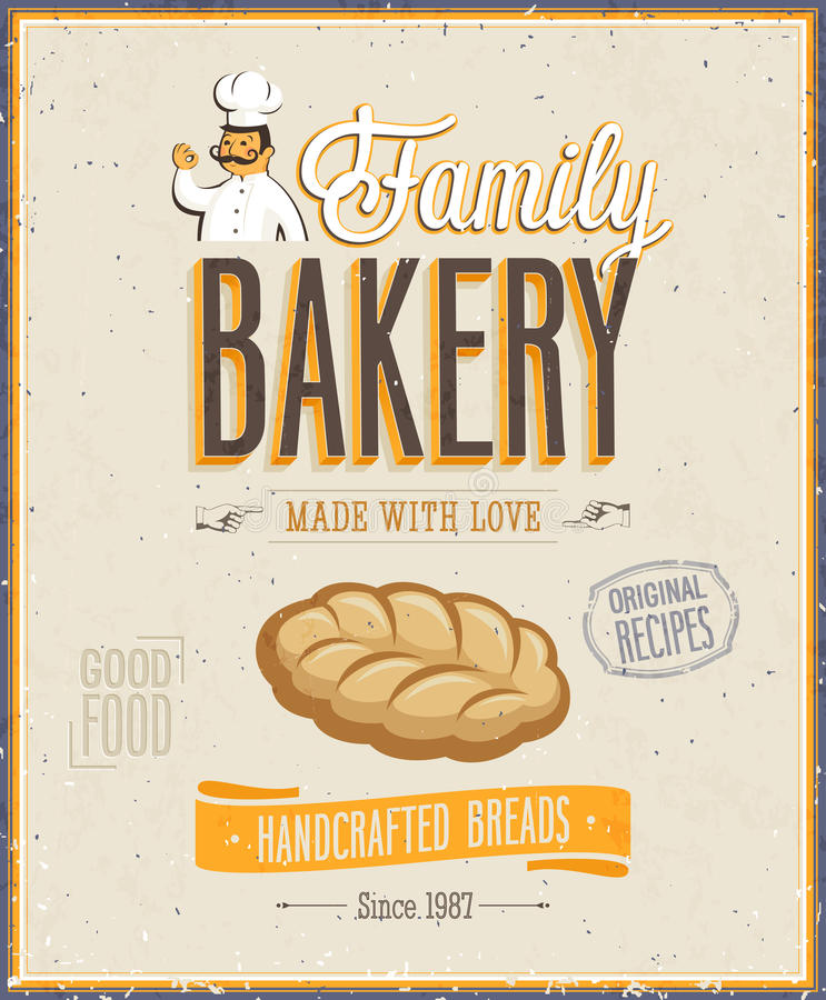 Винтажный плакат хлебопекарни.