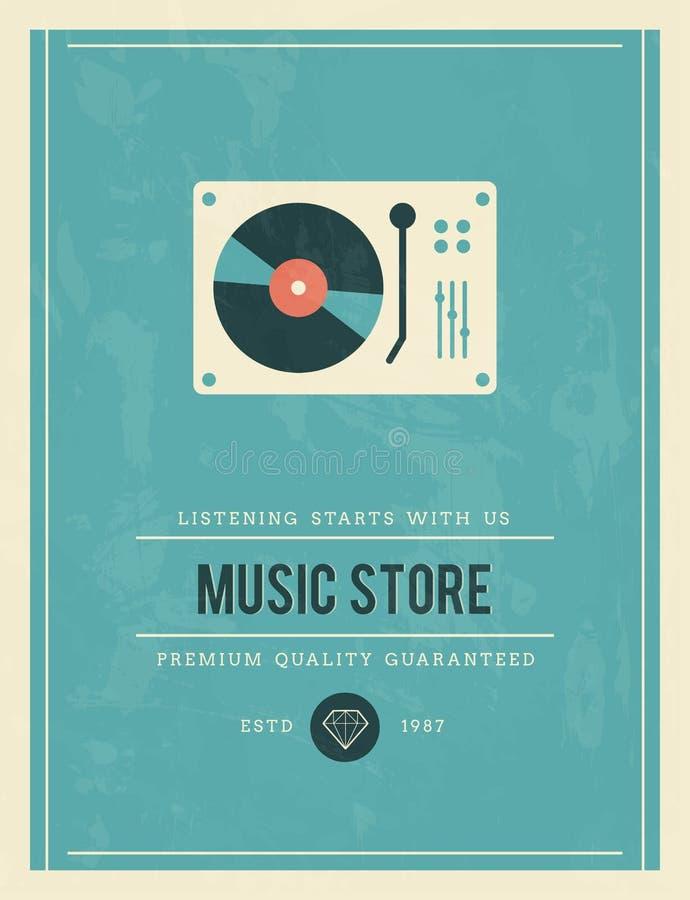 Винтажный плакат для магазина музыки иллюстрация вектора